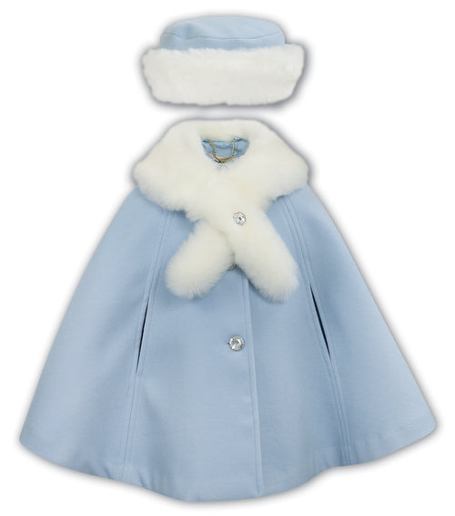 Sarah Louise Poncho & Matching Hat Pale Blue