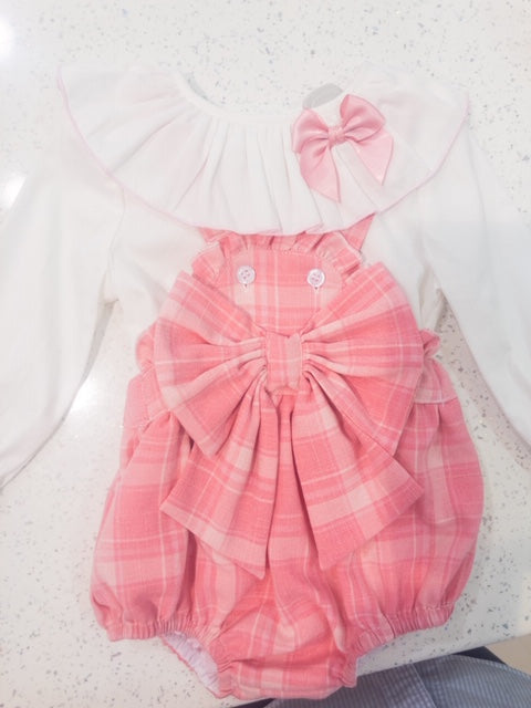 Checked Big Bow Romper
