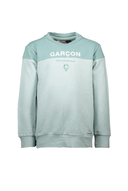 Two Tone Green Sweater by Le Chic Garcon