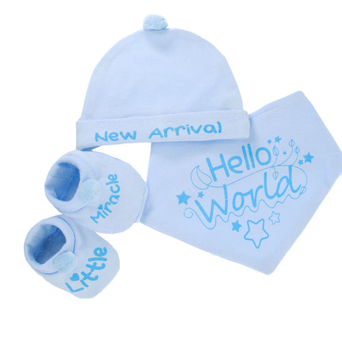 Hello World arrival pack, Bootie, Hat and Bib set