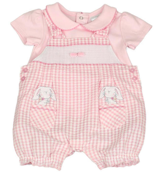 "Smocked Gingham ""Bunny"" Dungaree Set"