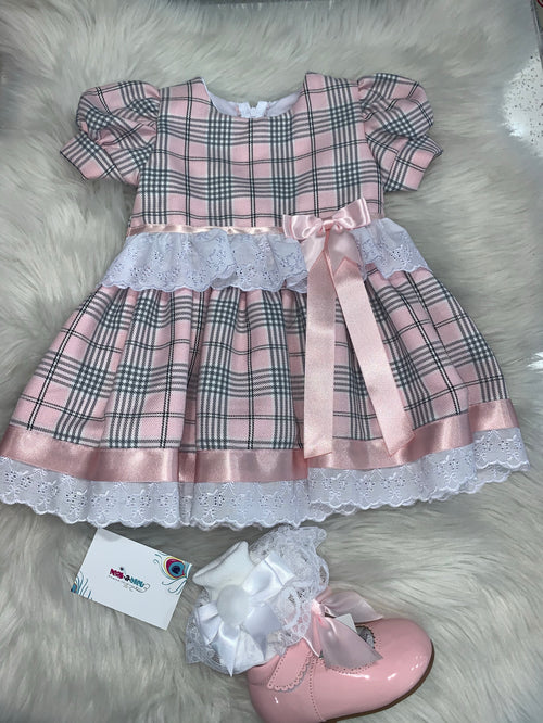 Pink Grey Tartan Dress with lace detailing