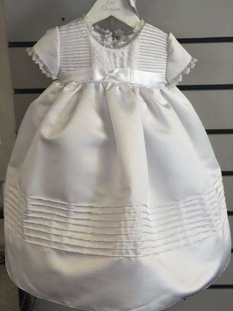 """Emily"" Mid Length Christening Robe in White 0-6 Months"