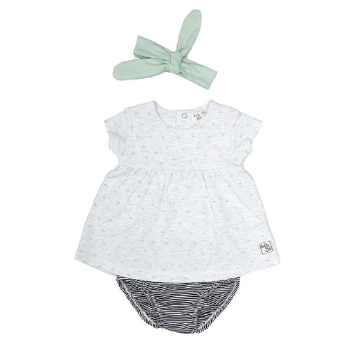 3 Piece Baby Girls Grey/Green Set by Babybol