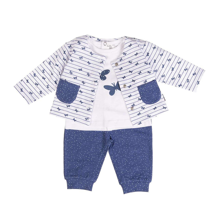 3 Piece Blue Butterfly Set by Babybol