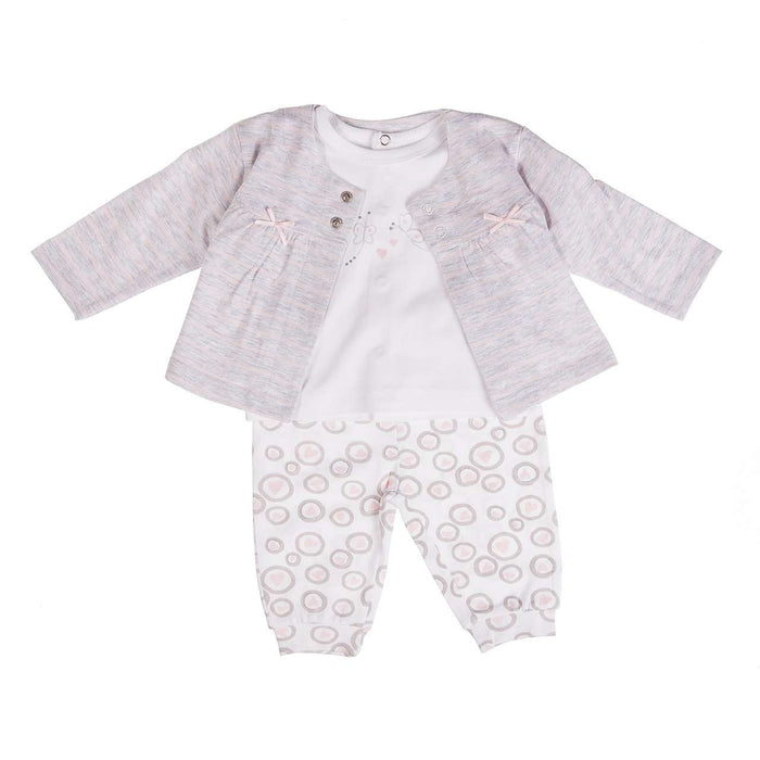 3 Piece Pink/ Grey Baby Girl Set by Babybol