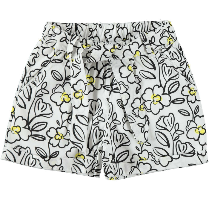 Black and Yellow Flower Design Shorts by IDO