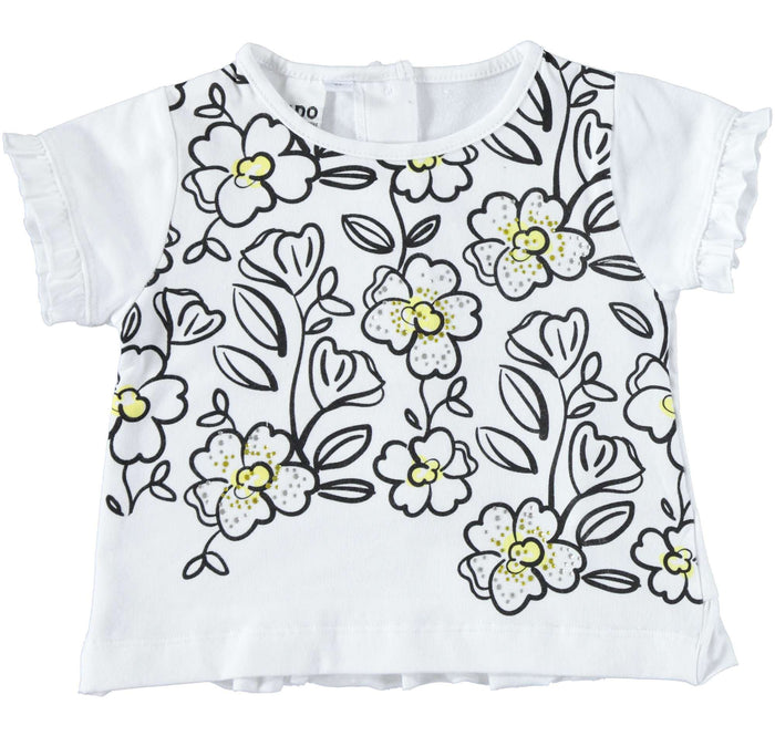 Black and Yellow Flower Design T Shirt by IDO