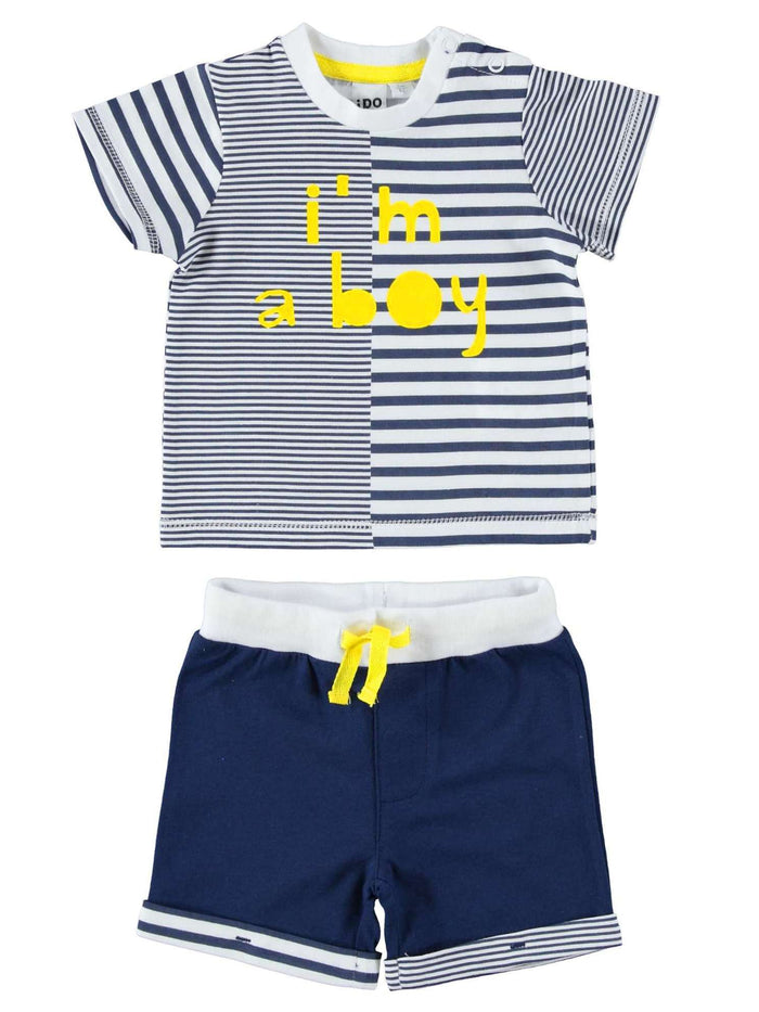 Contrast Stripe I'm A Boy Short Sleeve Set by IDO
