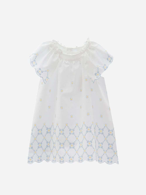 Cotton Popplin White with Floral Embroidery Dress by Patachou