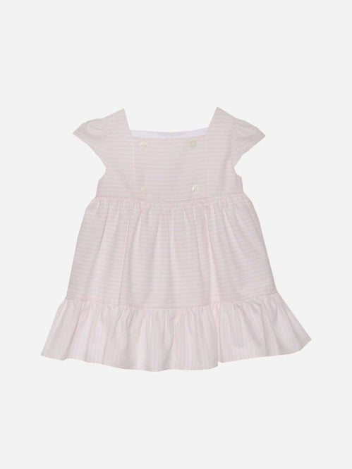 Cotton Satin White and Pink Dress by Patachou
