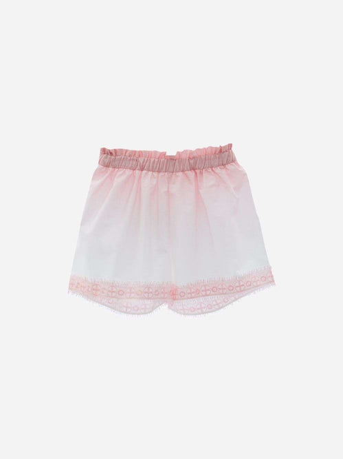Cotton Voile Shorts With Pink Degrade Print By Patachou
