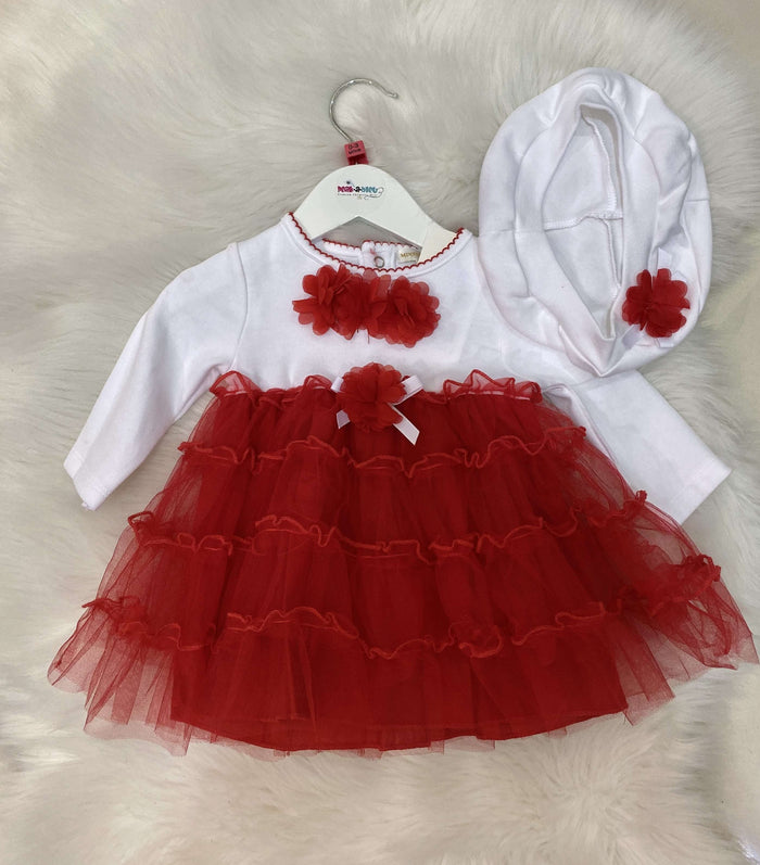 Dress with Red Tulle Skirt and Matching Hat Set