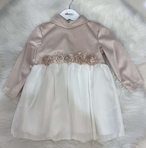 Dusky Pink and Cream Glitter Dress by Mintini Baby