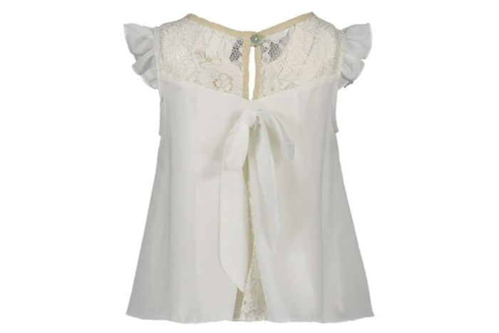 Fancy Voile Top (Off White) by Le Chic