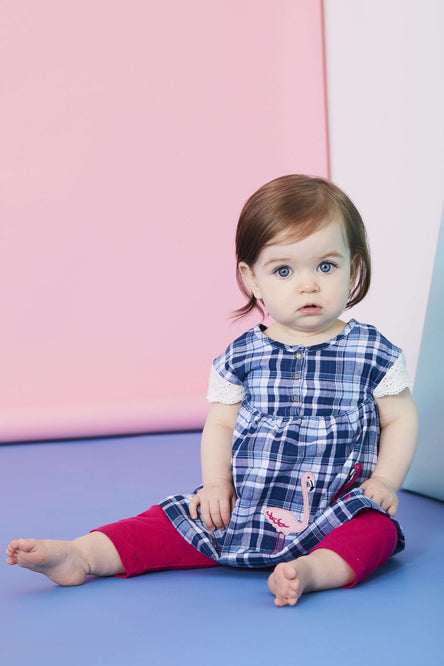 Flamingo Check Dress and LEggings Set by Lilly & Sid