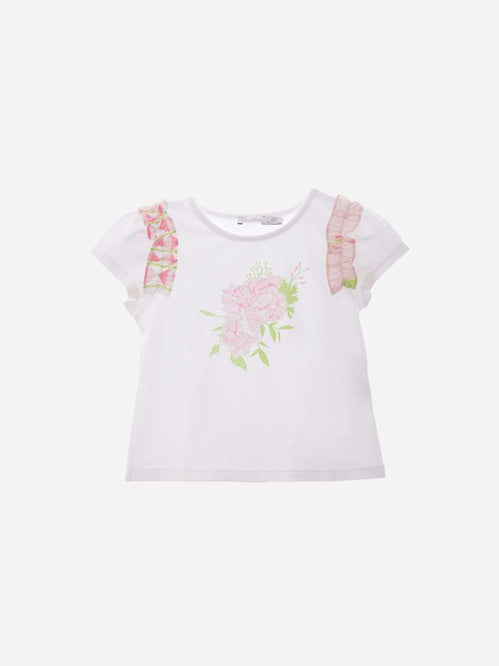 Flower Design Frill Capped Sleeve T-Shirt by Patachou