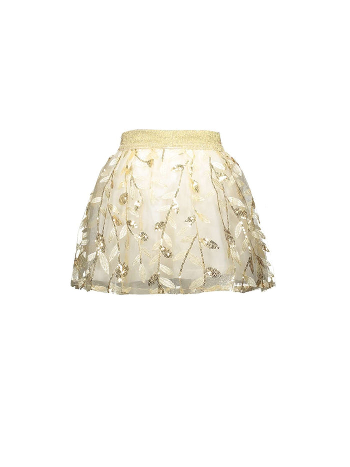 Gold Embroidered Leaves Skirt by Le Chic