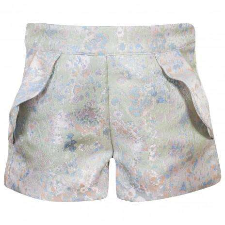 Green Blue Jacquard Shorts by Patachou