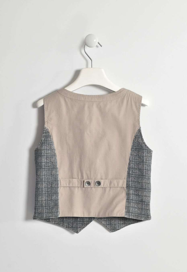 Grey and Beige Unpadded Waistcoat by IDO