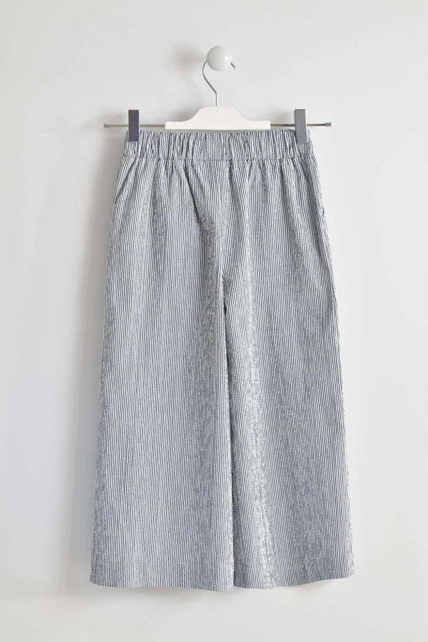 Grey and White Stripes Long Woven Trousers by IDO