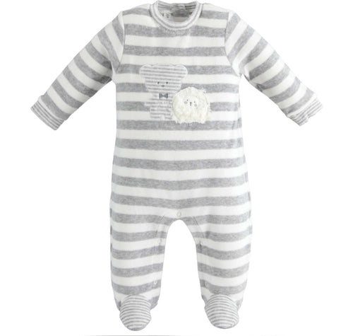 Grey/White Stripe Romper by IDO