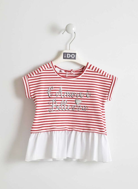 L'Amore È Bellezza Red and White Striped T-Shirt by IDO