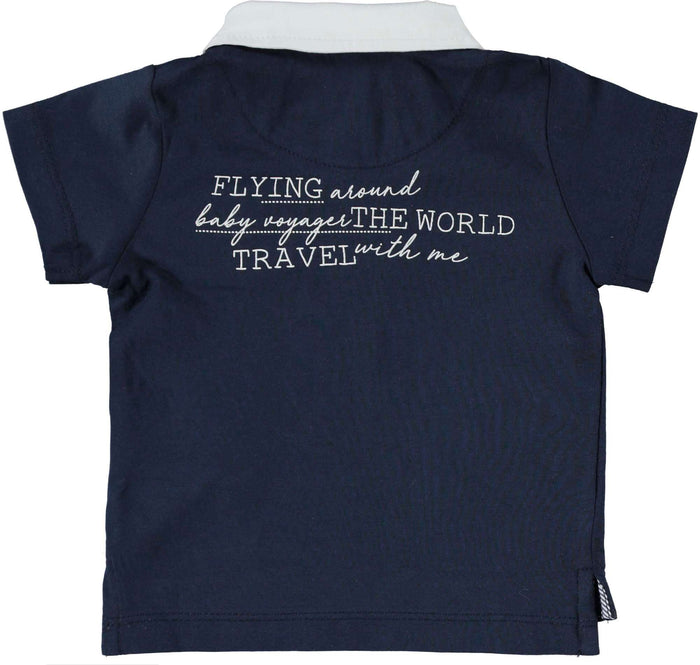 Navy 'Flying Around The World' T-Shirt by IDO