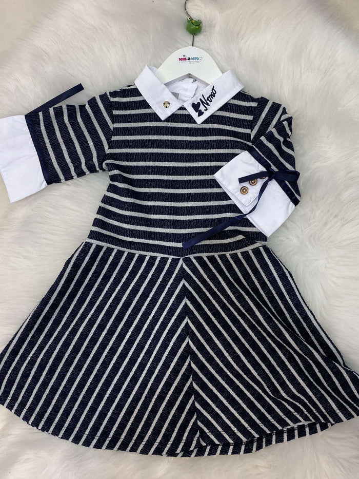 Navy and Silver Glitter Stripe Shirt Dress by Nono