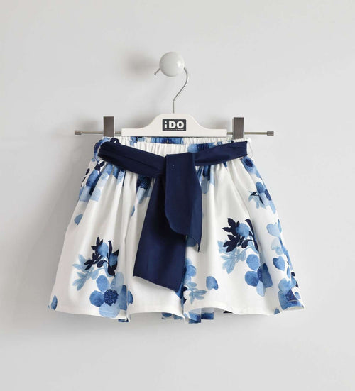 Navy and White Floral Print Woven Skirt by IDO