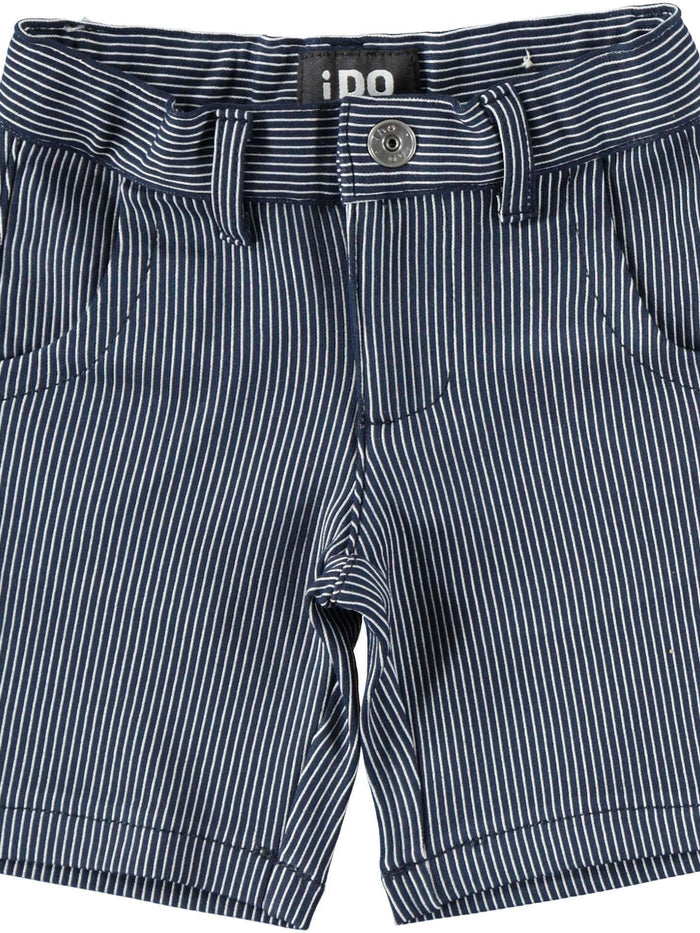 Navy and White Pinstripe Shorts by IDO