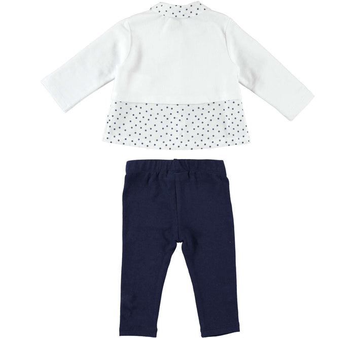 Navy and White Spots and Bows Long Sleeved Set by IDO