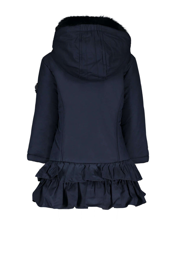 Navy Coat with Ruffles by LeChic
