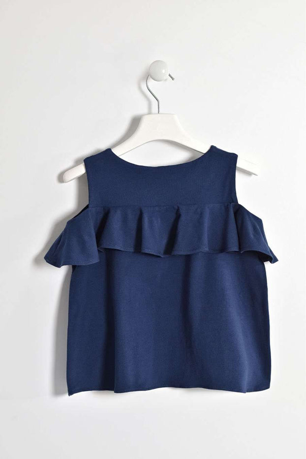 Navy Cold Shoulder Ruffle Top by IDO