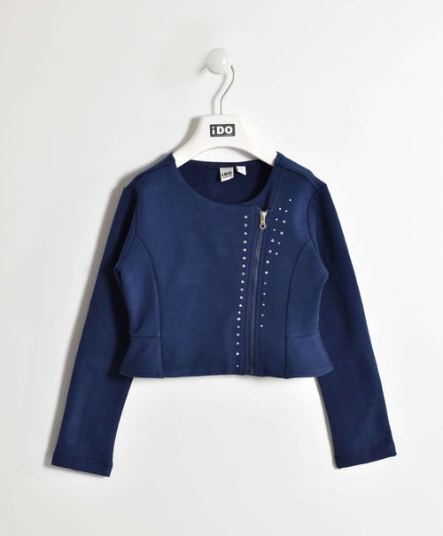 Navy Cropped Jacket with Diamante Stud Detail by IDO