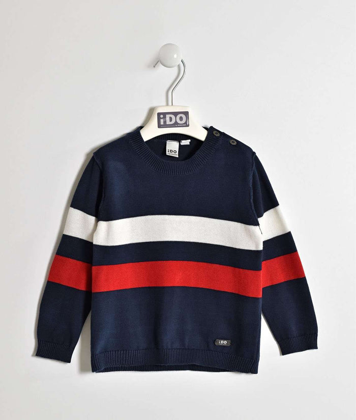 Navy Sweater with White and Red Stripes by IDO