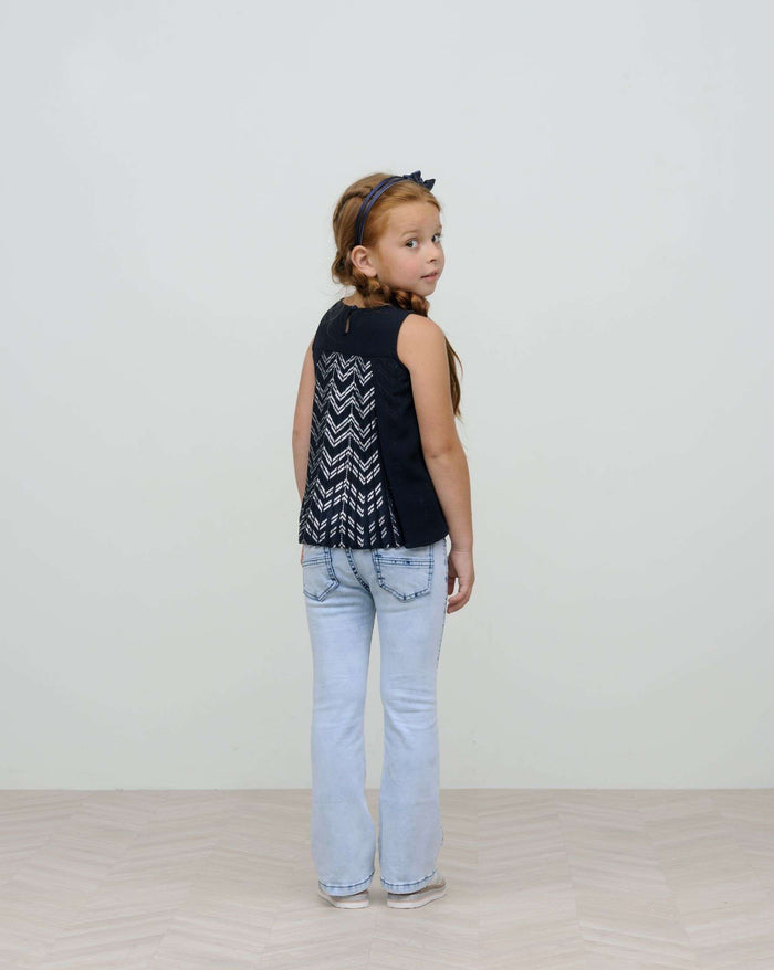 Navy Top with Printed Plissee Back Detail by Le Chic