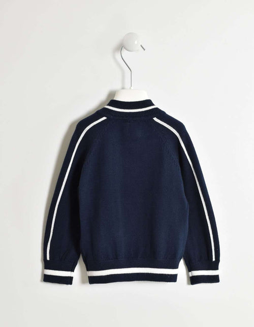 Navy with White Stripe Detail Tricot Jacket by IDO