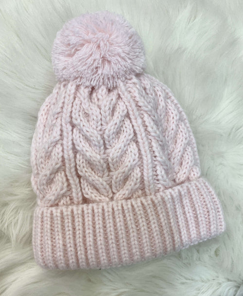 Pink Cable Knit Hat