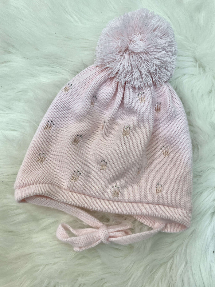 Pink Knitted Hat with Crowns
