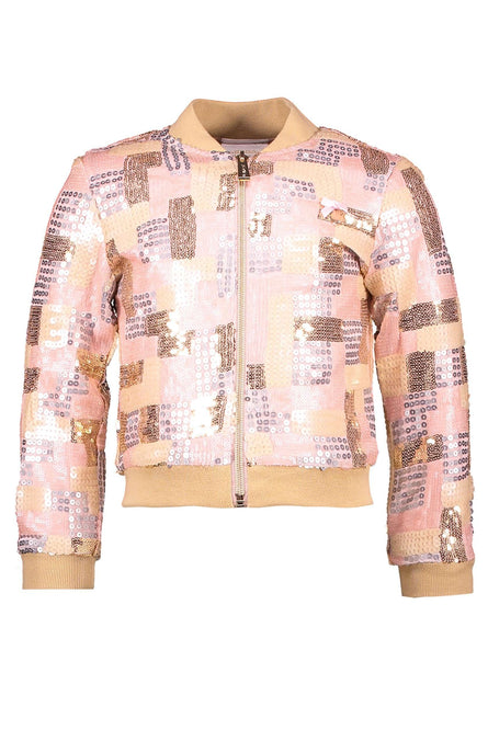 Pink Sequin Contrast Jacket by Le Chic