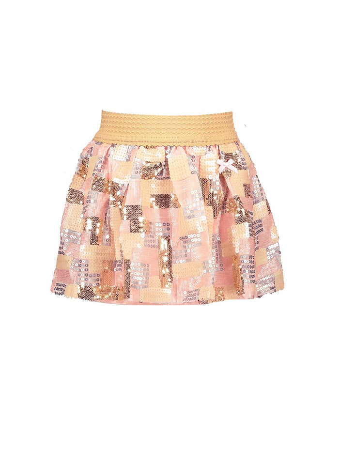 Pink Sequin Contrast Skirt By Le Chic