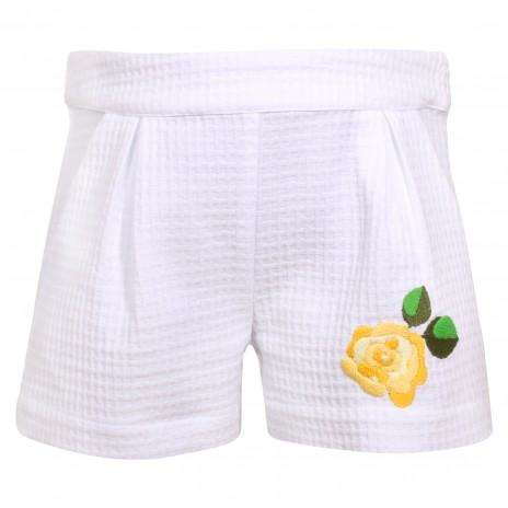 Piquet Square Flower Detail Shorts by Patachou