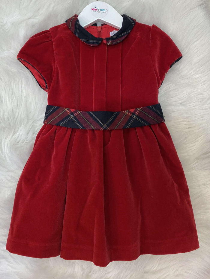 Red Dress with Tartan Collar and Band by Patachou