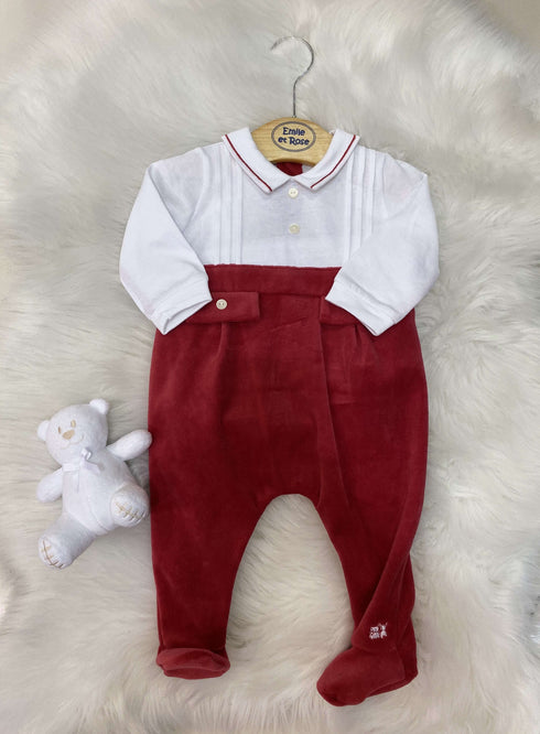 Red/White Footsie with Teddy Set by Emile et Rose
