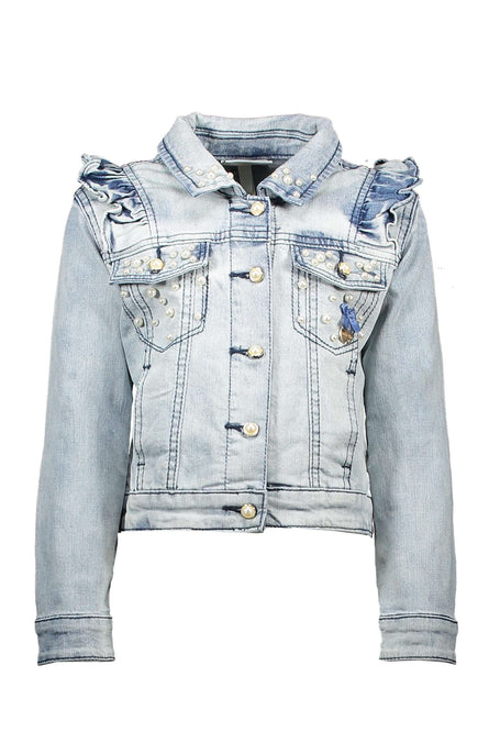 Ruffled Light Wash Denim Jacket by Le Chic
