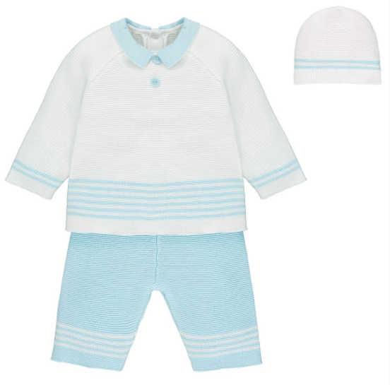 Silas Blue Knitted Outfit 2 Piece Set by Emile Et Rose