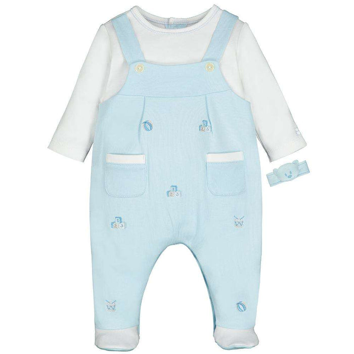 Stuart Boys Mock Dungaree with Rattle by Emile Et Rose