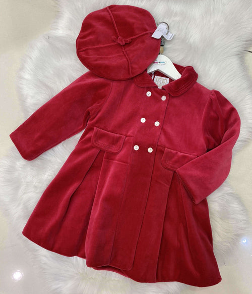 Velour Padded Coat with pleats and Beret