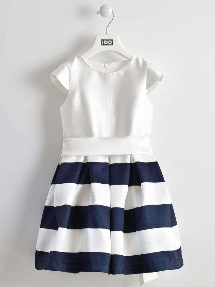 White and Navy Stripe Dress by IDO